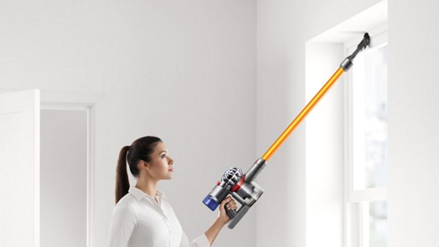 Model with Dyson V8 Absolute vacuum